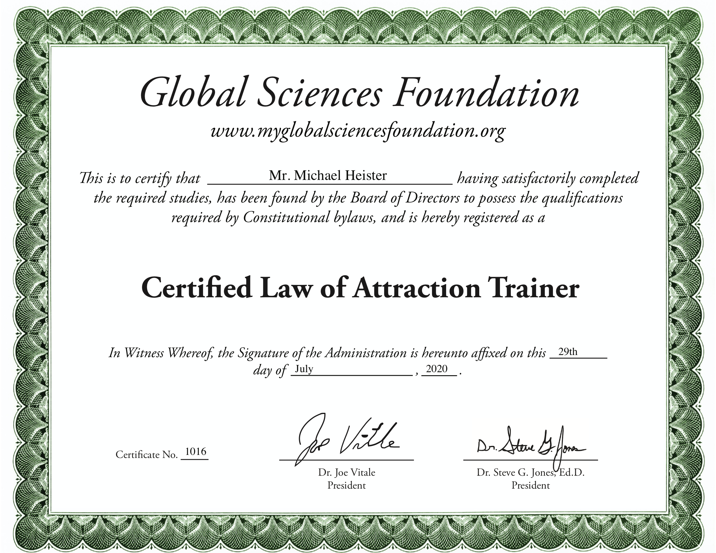 Michael Heister LOA Zertifikat