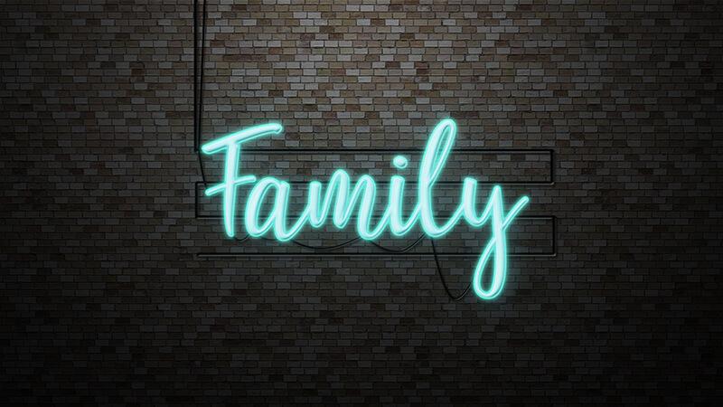 Family Neon Blau