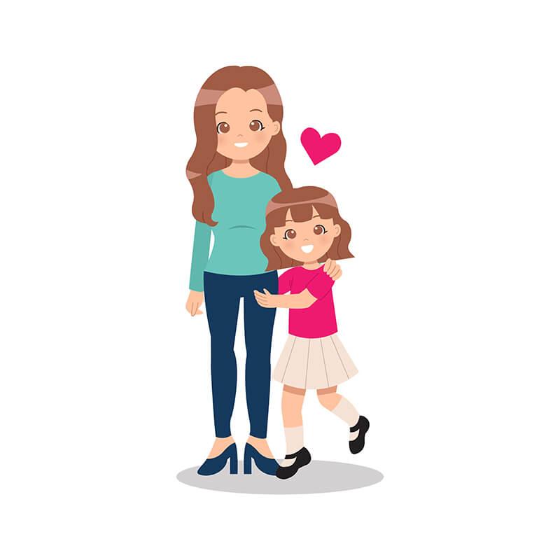 Mama Kind Comic Herz