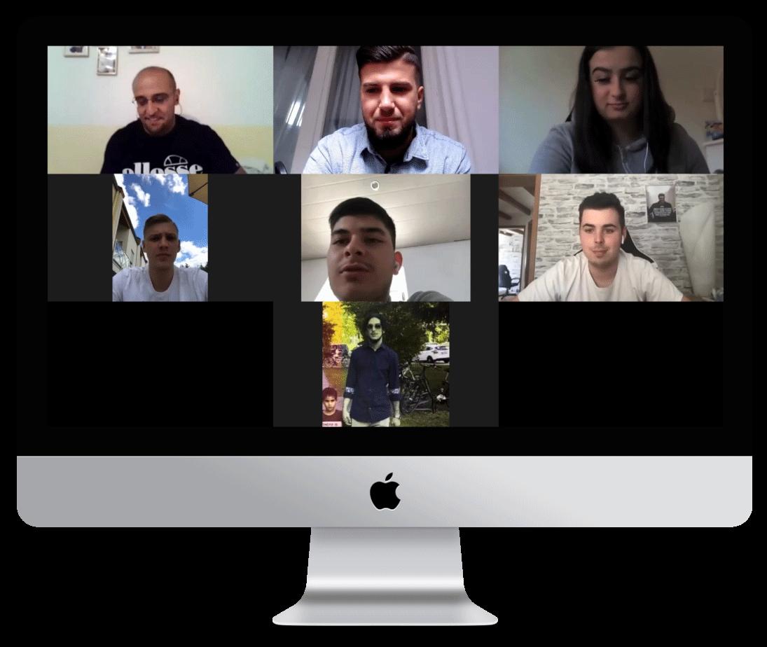 Zoom-Call mit den Teilnehmern von Deniz Chaer