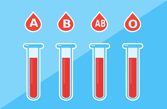 Die verschiedenen Blutgruppen Typen A B AB 0 für eine Diät