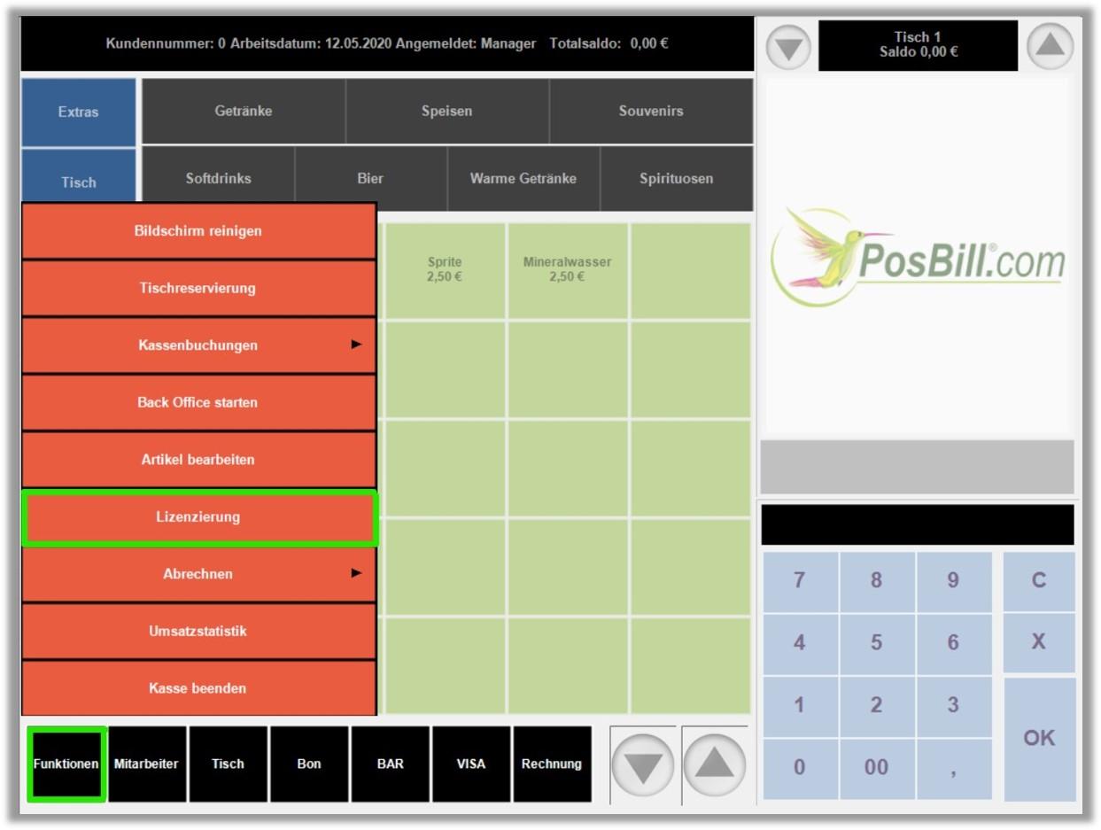 PosBill Kassenfront Funktionen