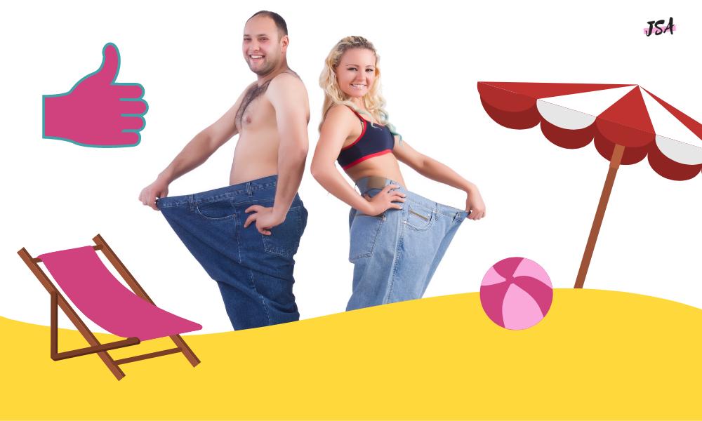 Mann und Frau im Bikini, vor und nach dem Abnehmen