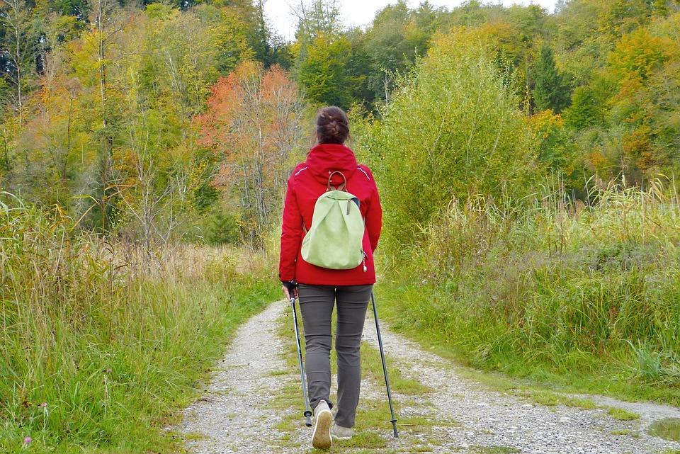 Diese Frau geht gelassen durch den Wald spazieren