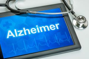 Alzheimer Schriftzug auf einem Display