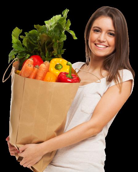 Frau mit gesundem Essen