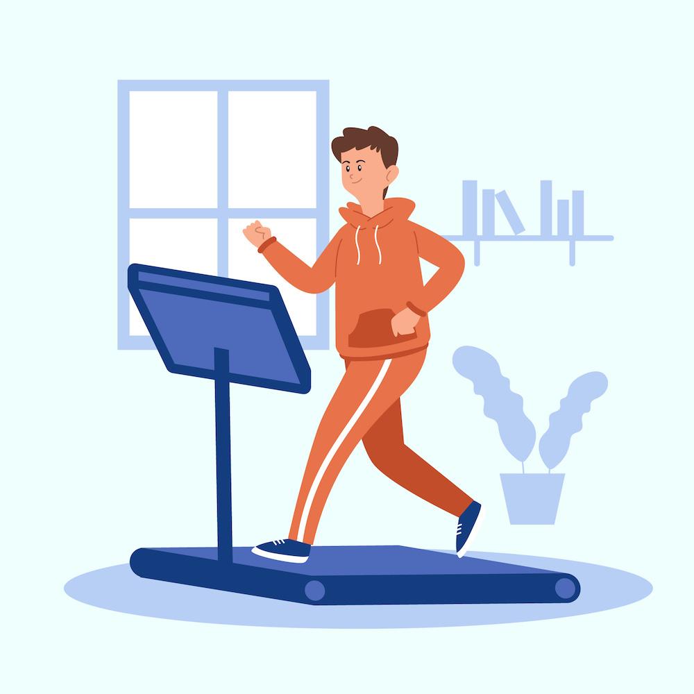 illustration von laufband fitnessgerät für zuhause