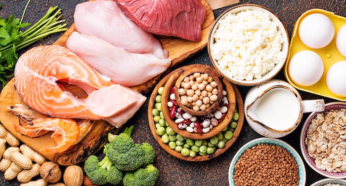 gesunde lebensmittel mit viel BCAA gehalt Ansicht von oben