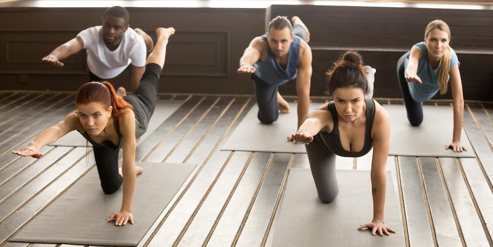 Rückenschule gruppe gemeinsam yoga übungen