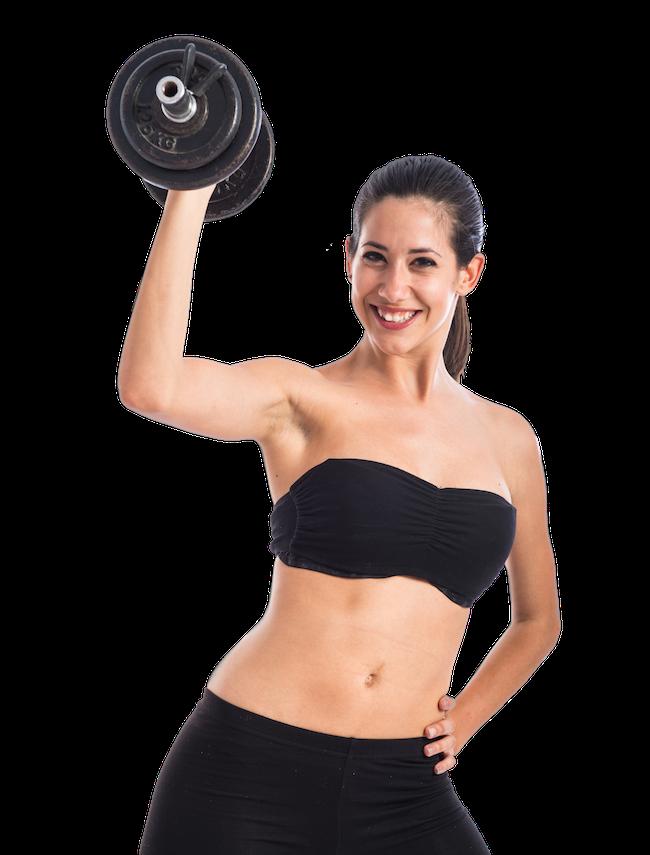 sportfrau mit Kurzhantel beim Gewichtheben
