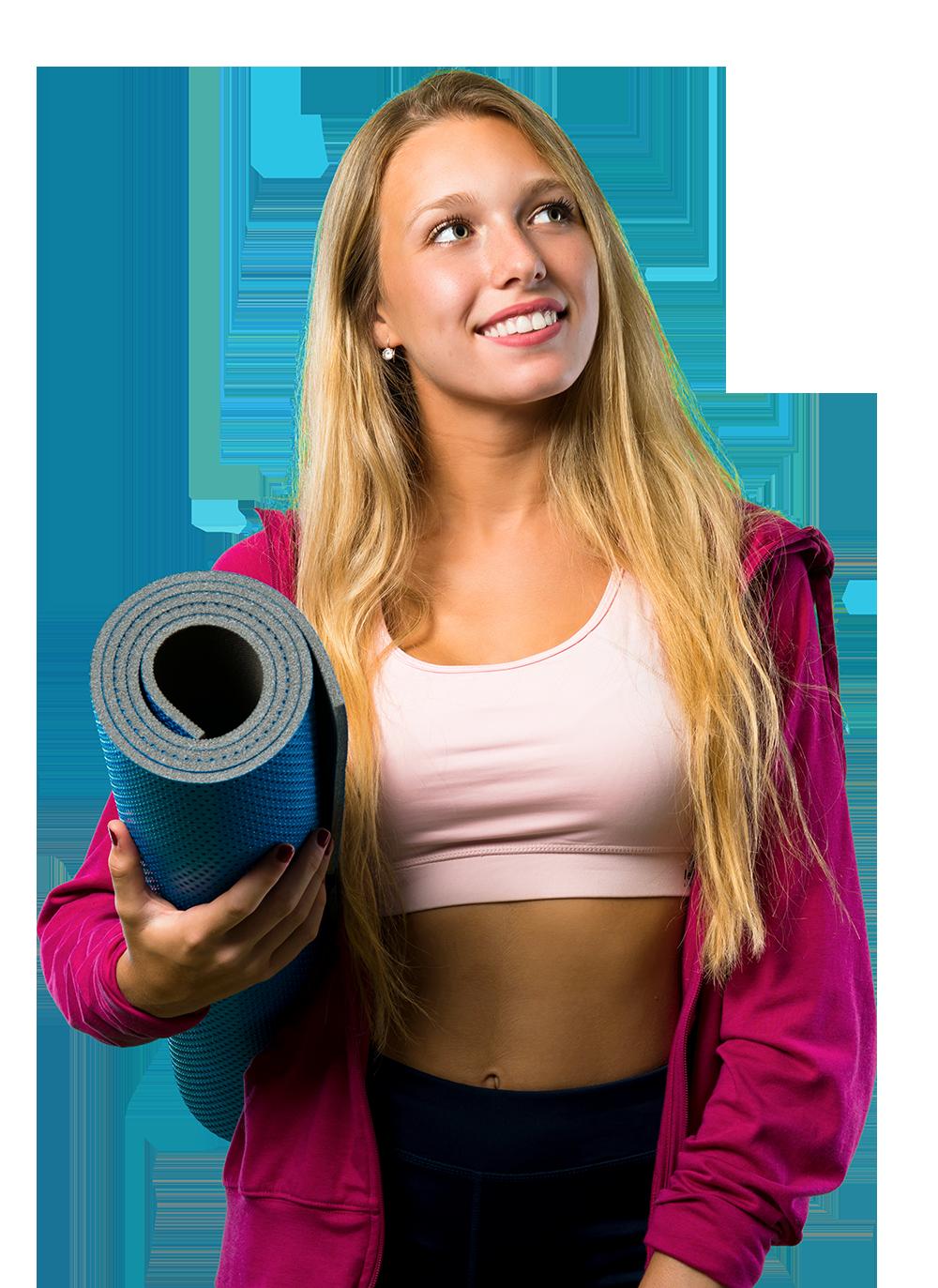 Frau mit Yoga Matte
