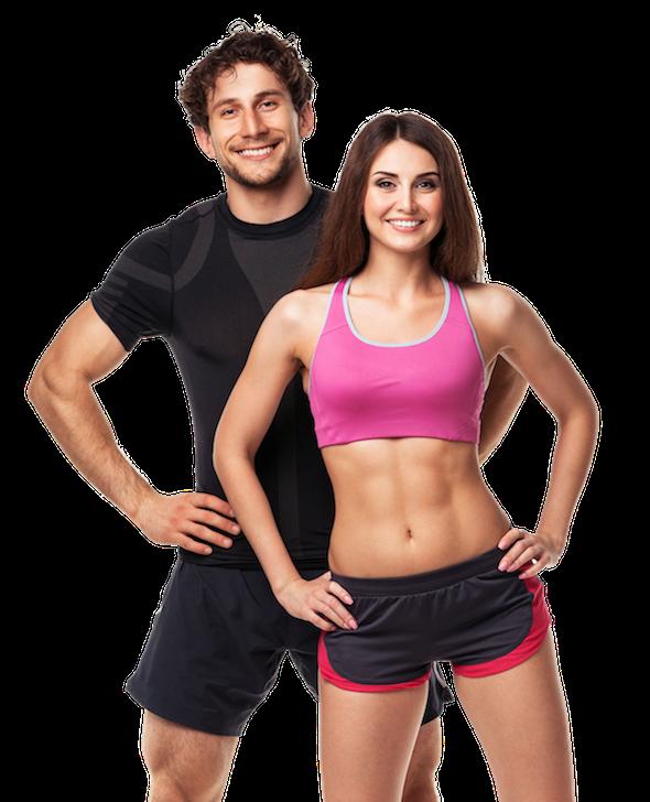 Mann und Frau mit sportlichem Körper