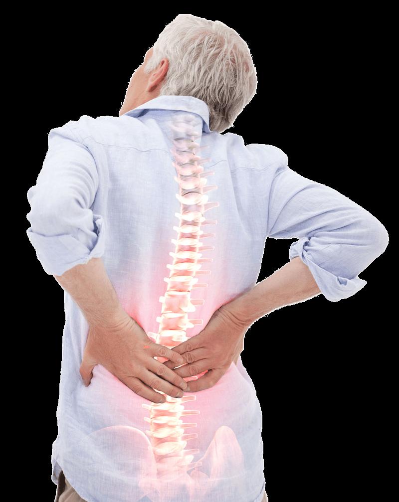 Mann mit Rückenschmerzen Wirbelsäule Veranschaulichung
