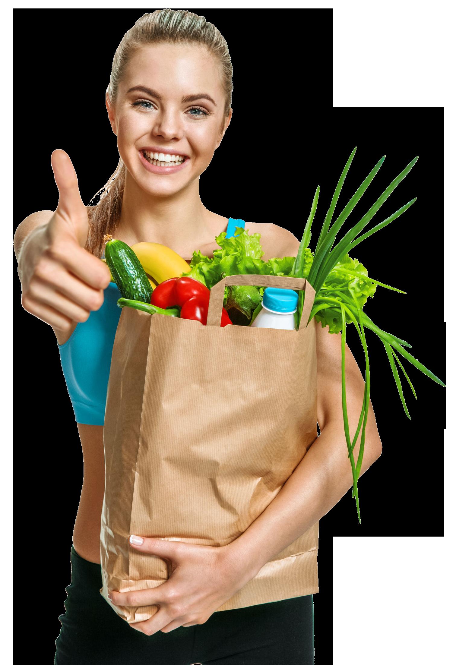 Frau die sich gesund ernährt