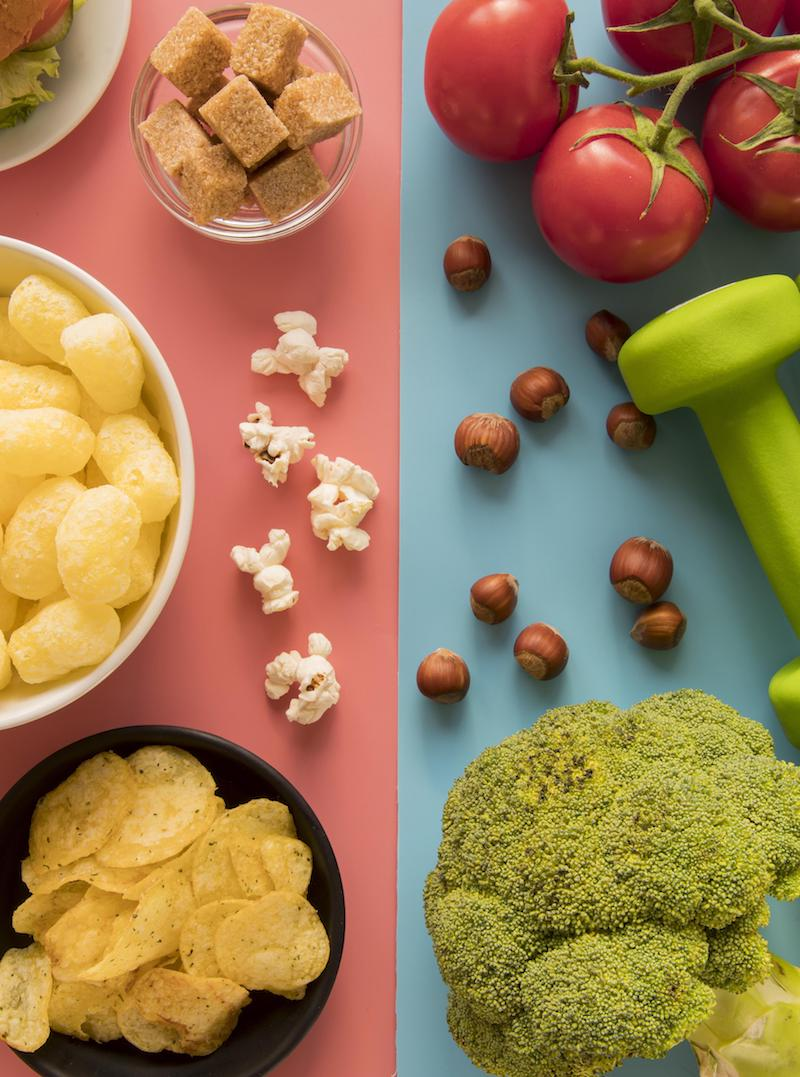 Veranschauichung ungesundes und gesundes Essen von oben