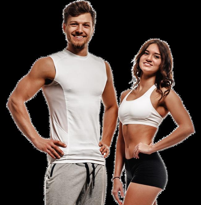 Mann und Frau mit trainiertem Körper und definierten Muskeln