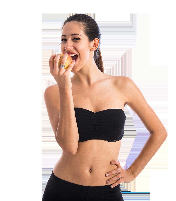 Frau mit gesundem Apfel