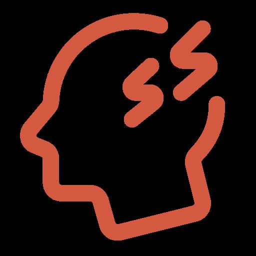 Animierter Kopf mit Kopfschmerzen