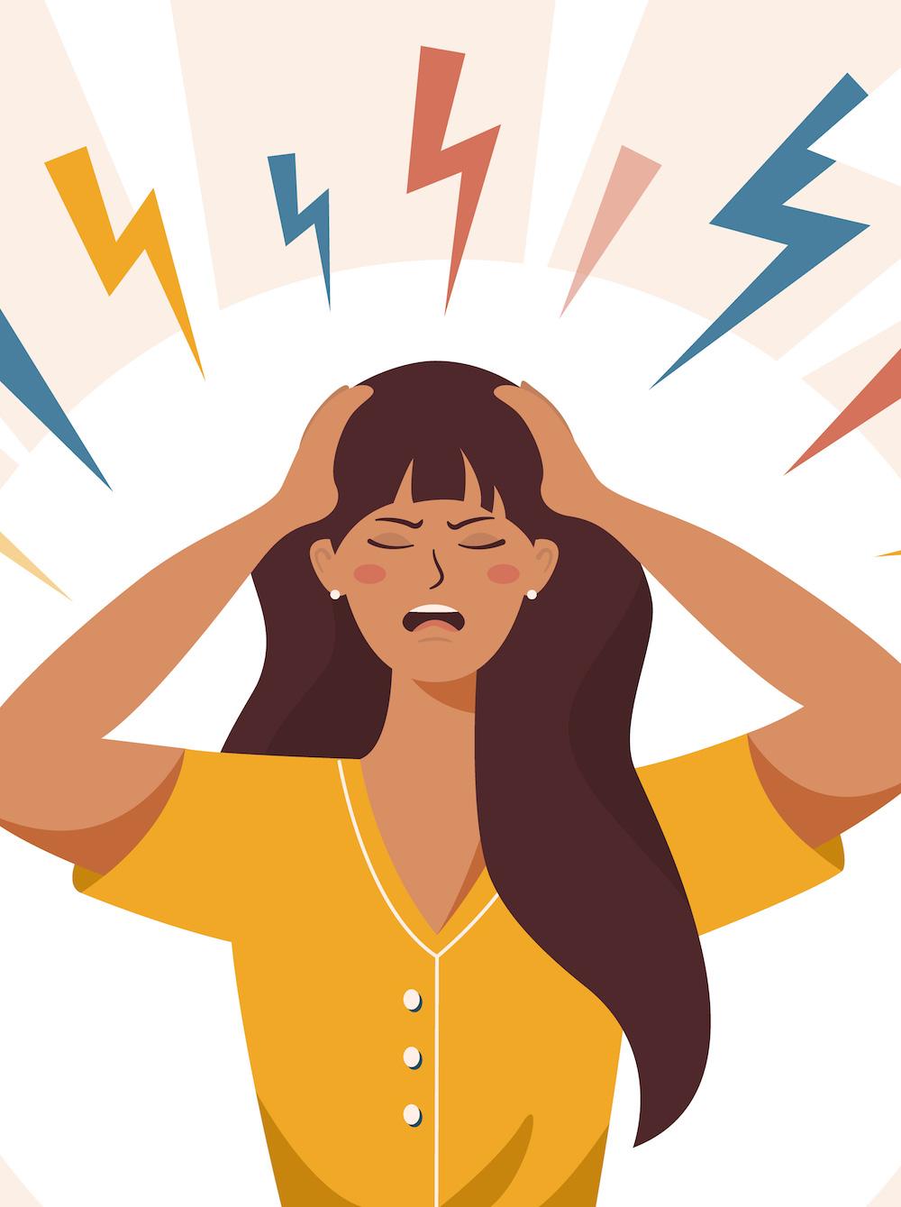 Illustration frau hat starke Kopfschmerzen hält sich den Kopf