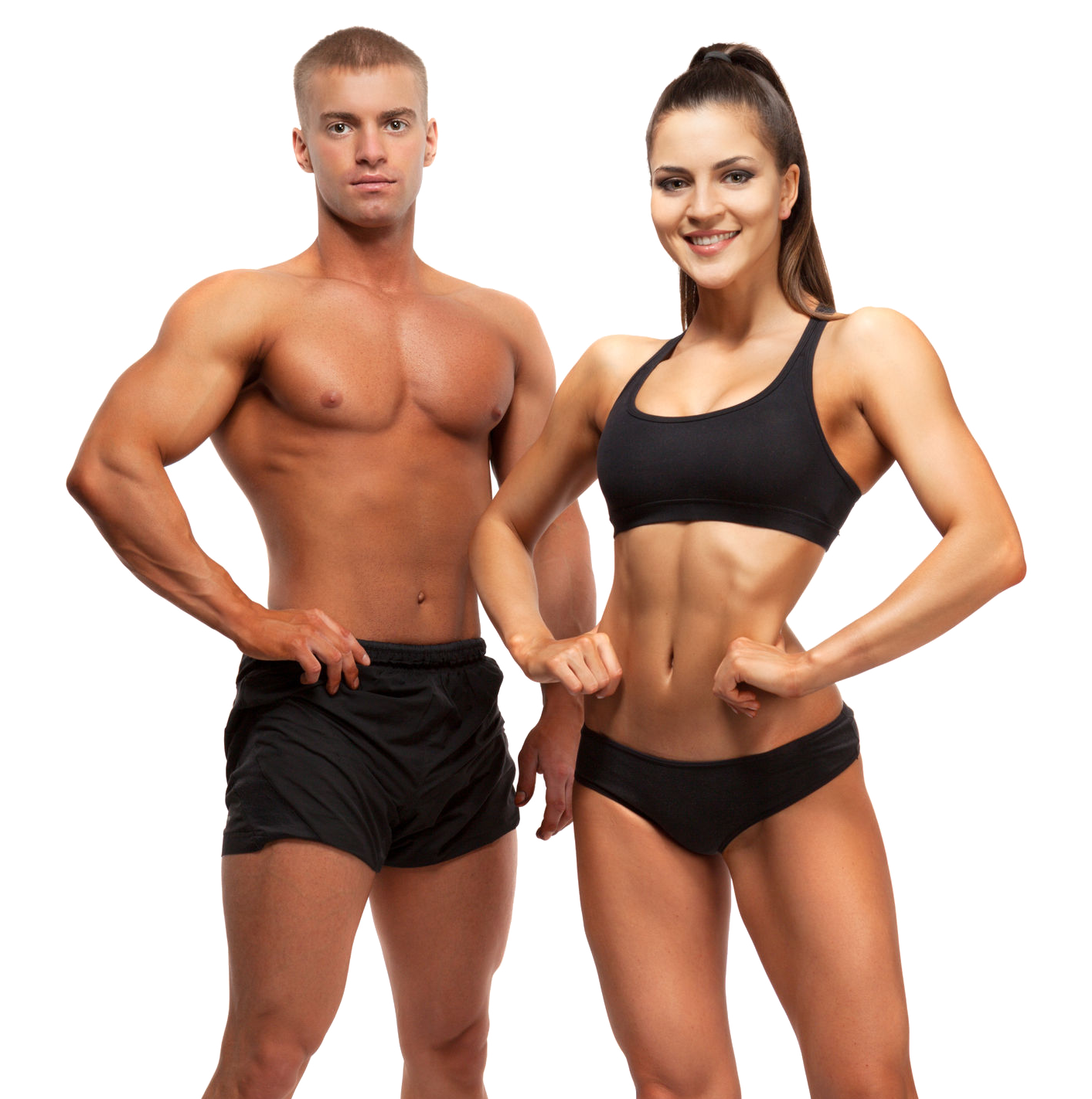 Frau und Mann mit Muskeln