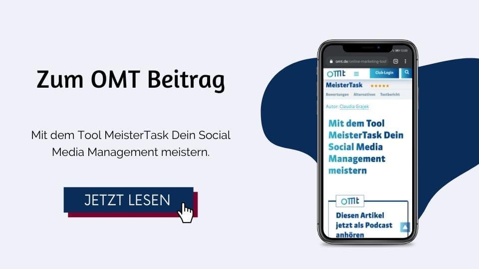 OMT Magazin Mit dem Tool MeisterTask Dein Social Media Management meistern