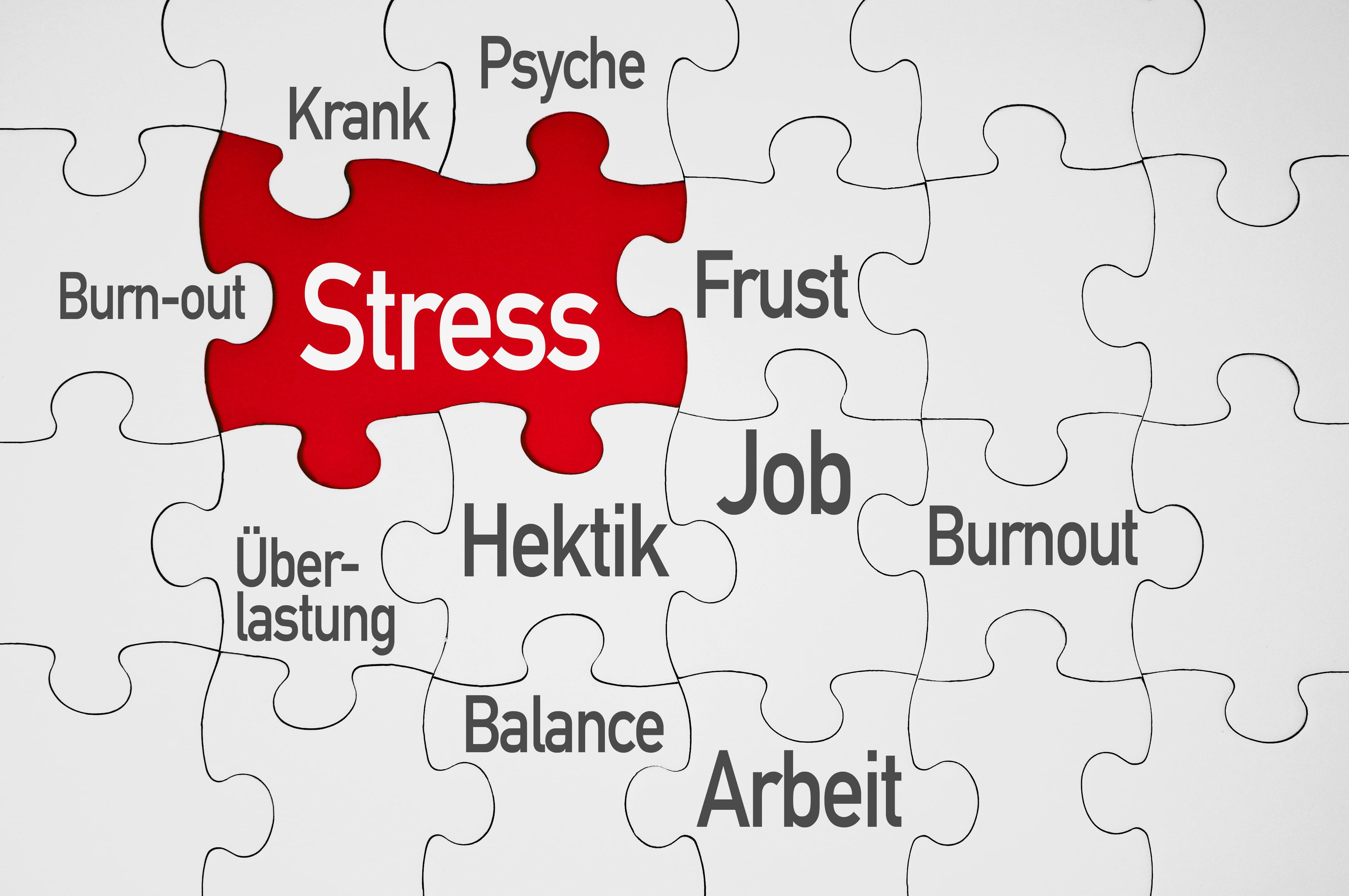 Stress in verschieden Bereichen