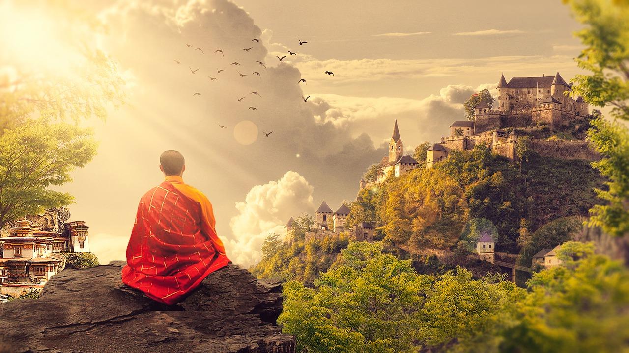 Mann-Meditation-Aussicht