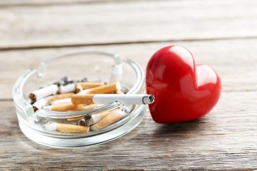Zigarette neben Plastikherz als Symbol der körperlichen Veränderungen am Herzen