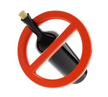 Alkoholverbot - Durchgestrichene Weinflasche