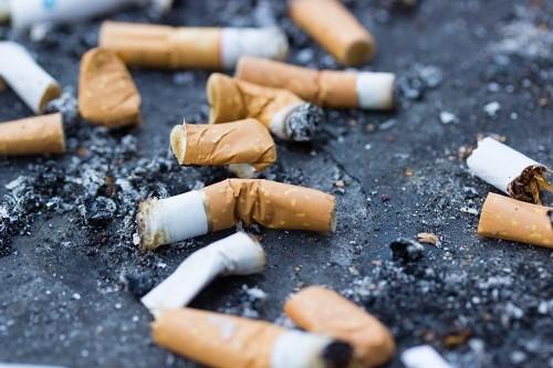 Zigarettenstummel liegen auf der Straße