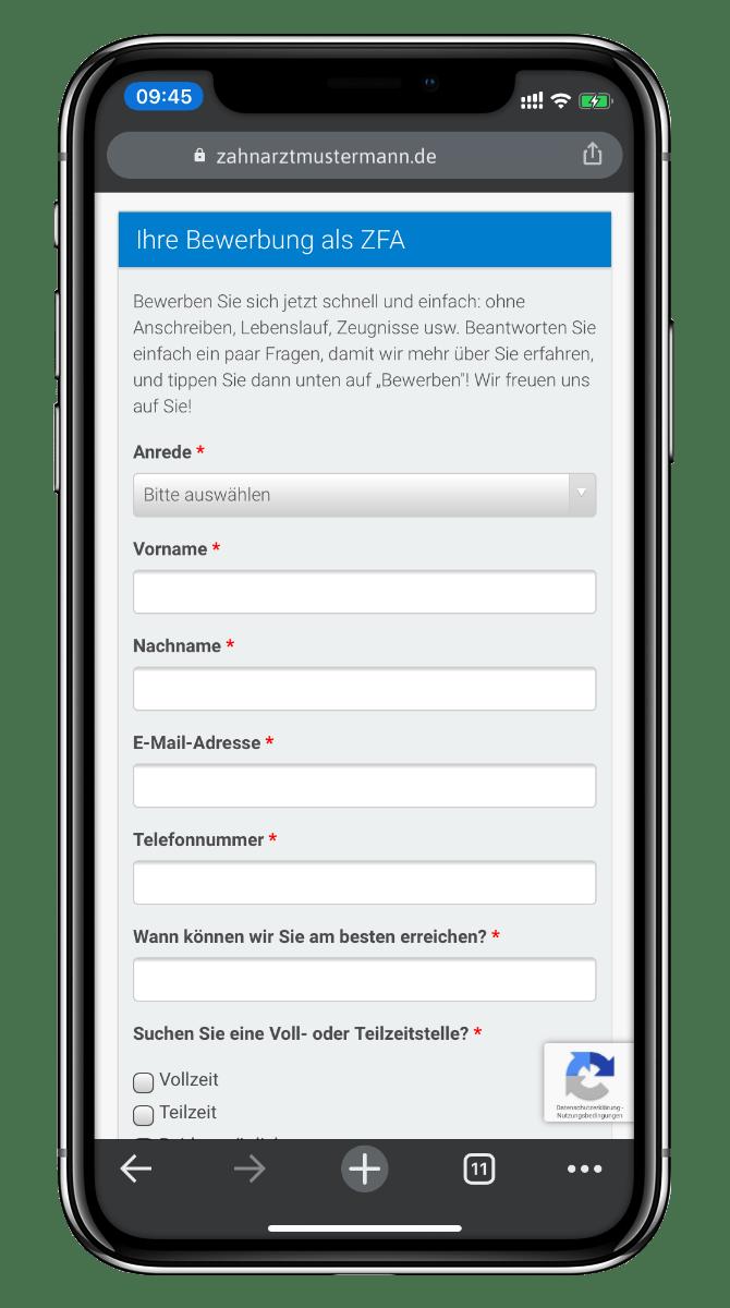Online-Bewerbung mit dem Smartphone ZFA