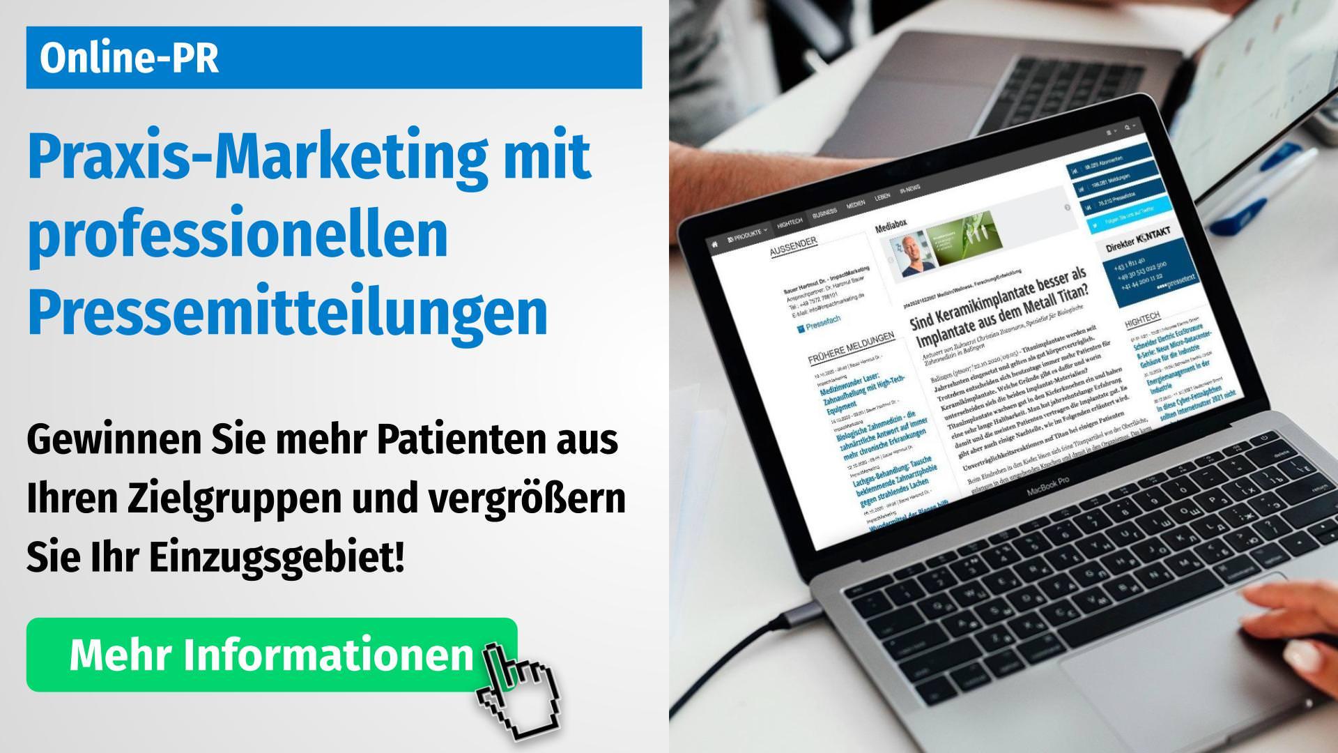Praxis-Marketing Zahnarzt mit Online-PR und Pressemitteilungen