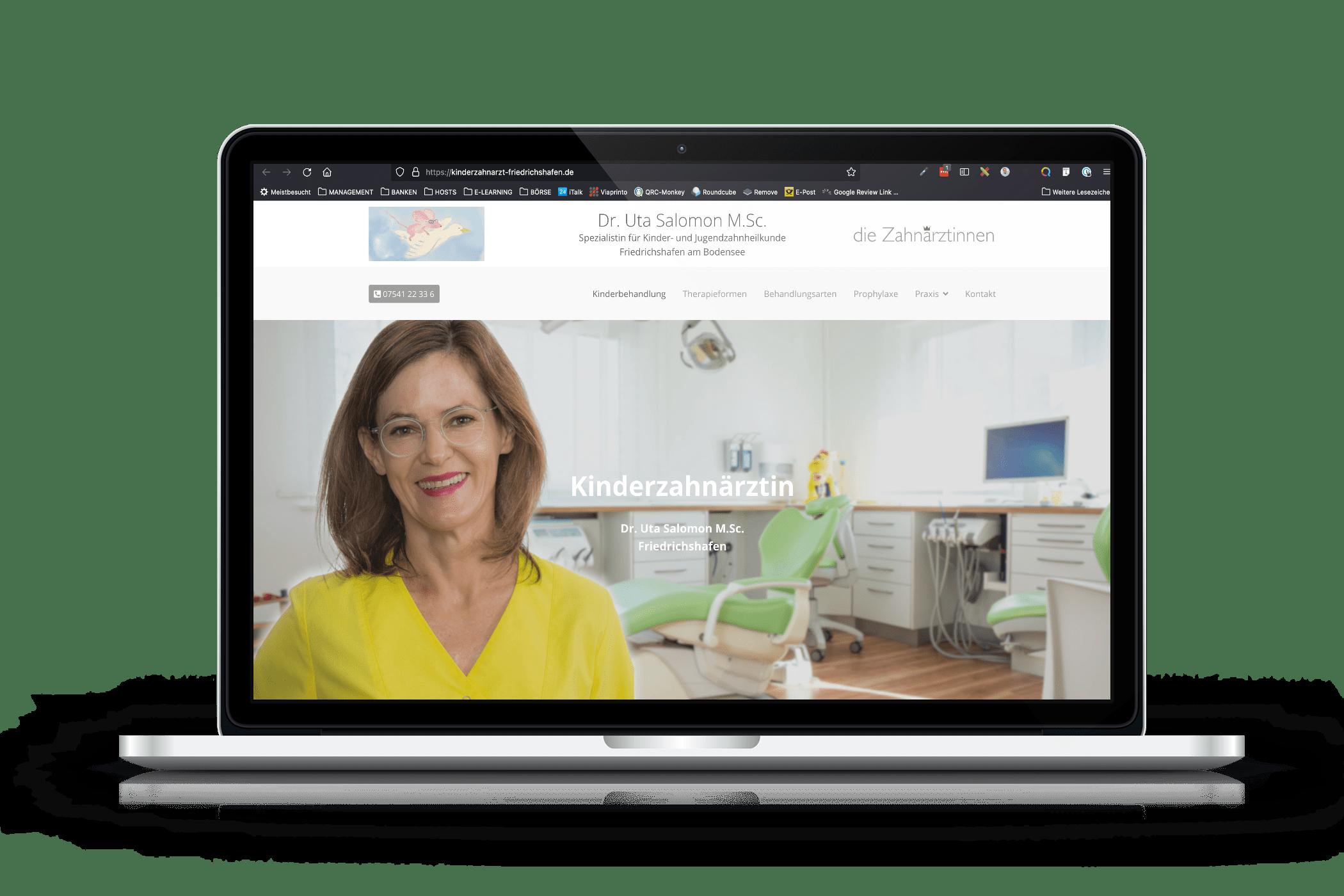 Praxis-Website Kinder-Zahnarztpraxis Friedrichshafen