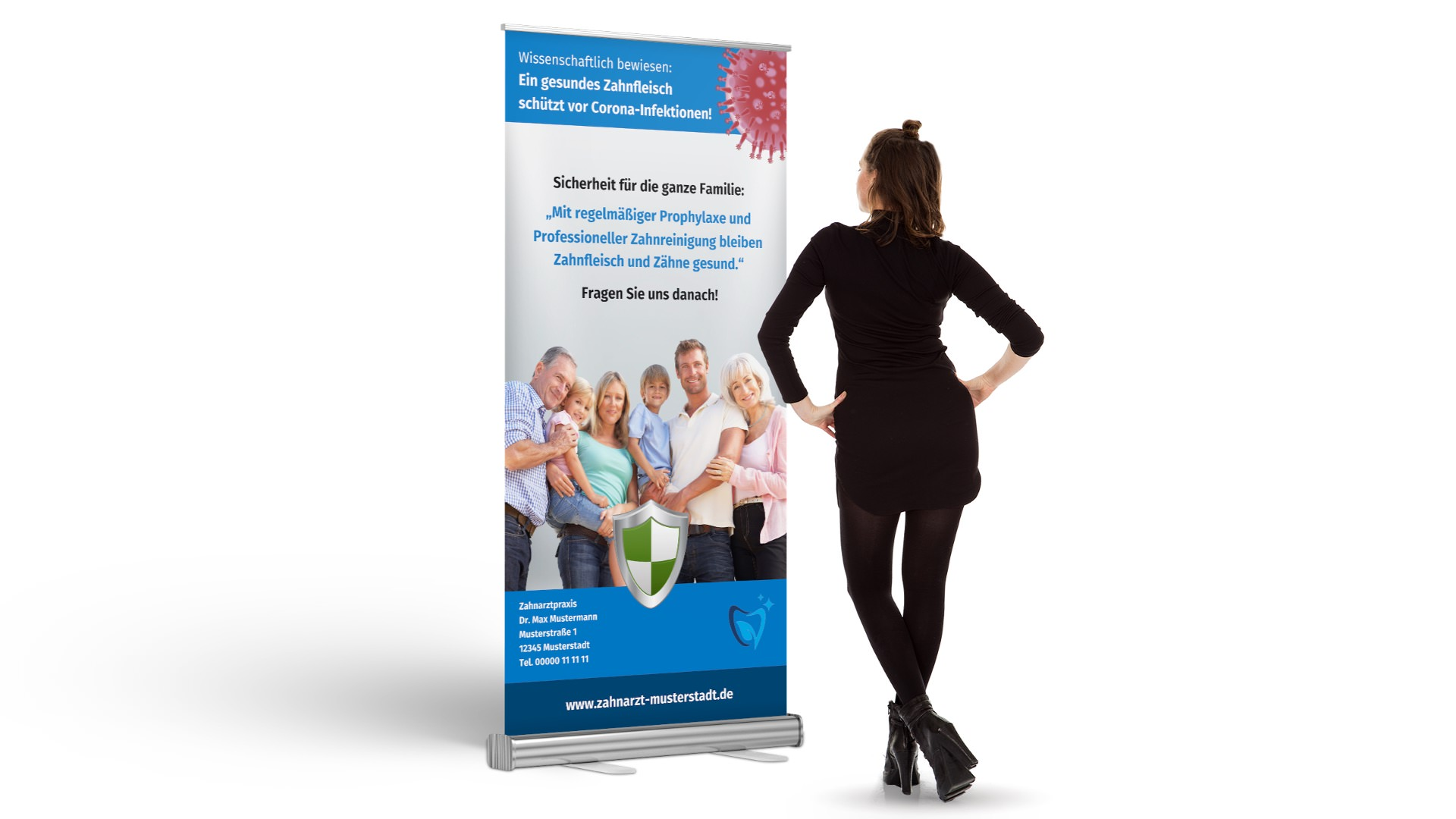 Roll-Up-Banner Corona und Prophylaxe