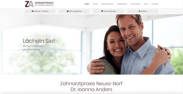 Praxis-Website Zahnarzt Neuss-Norf, Dr. Ioanna Anders