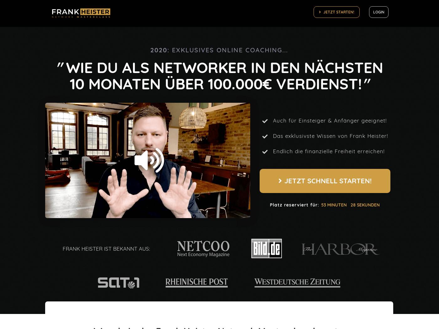 Frank Heister Network Masterclass