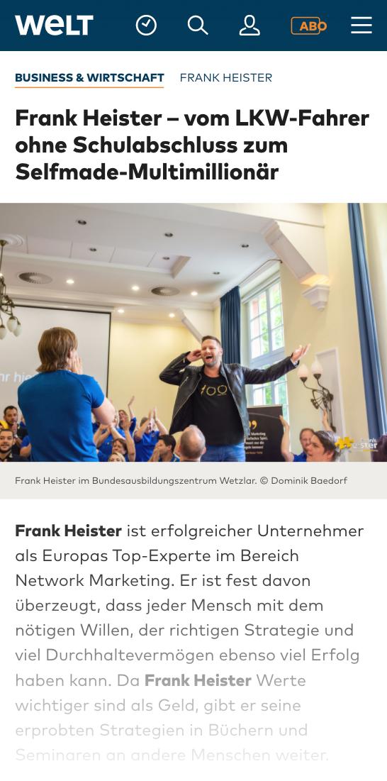 Frank Heister in der Welt