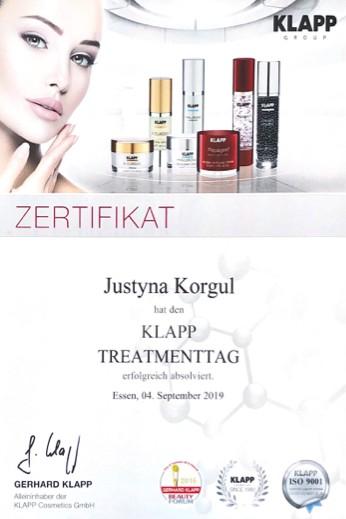 Kosmetikerin Zertifikat - Klapp Treatmenttag