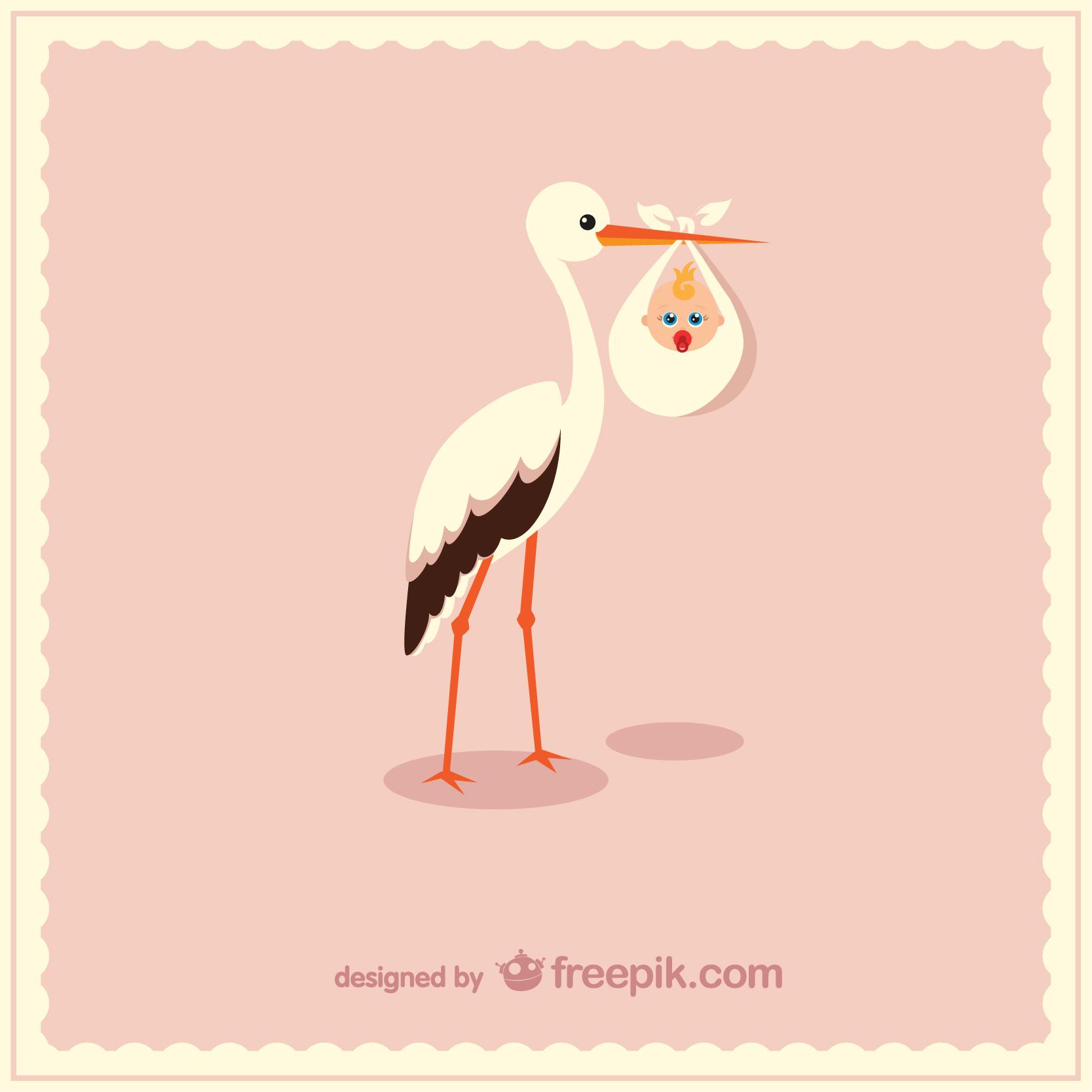 Illustration von weißem Storch mit Baby in Beutel auf rosa Hintergrund