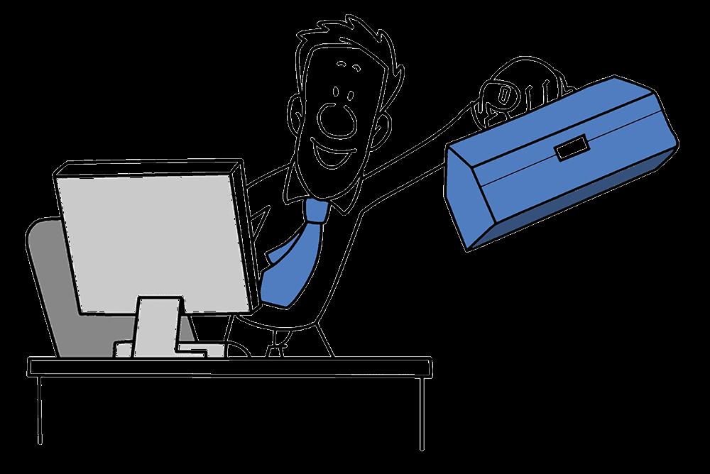 Mitarbeiter hält einen Methodenkoffer in der Hand