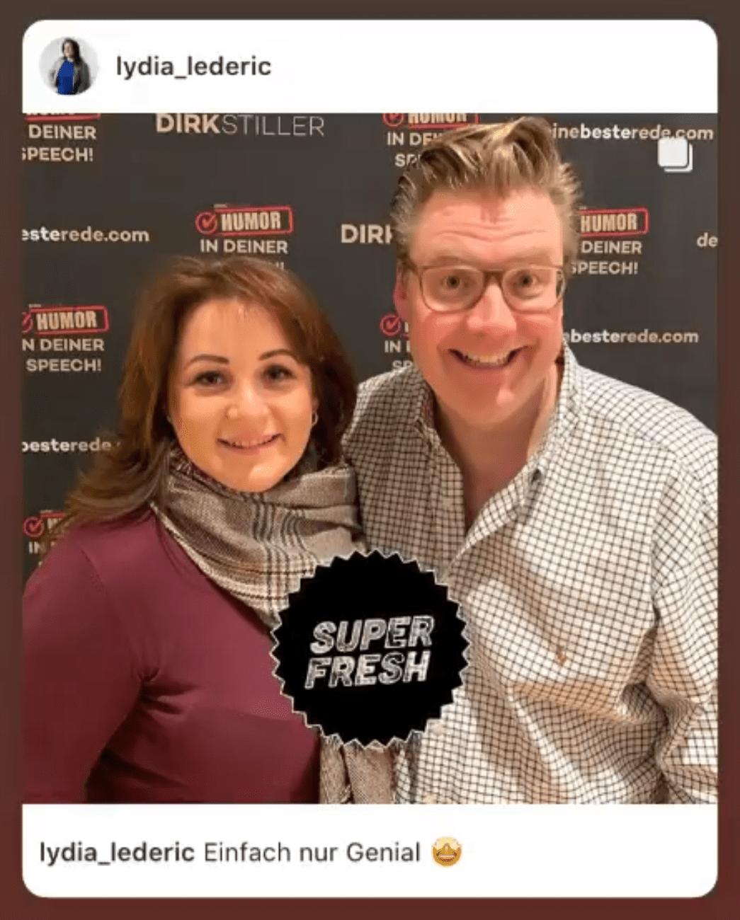 Lydia Lederic über Dirk Stiller