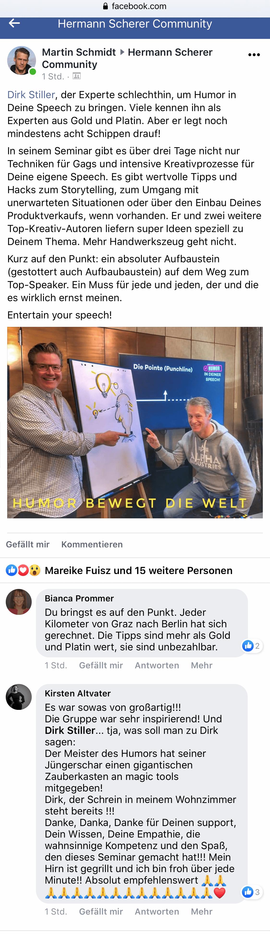 Martin Schmidt, Kirsten Altvater, Bianca Prommer über Dirk Stiller