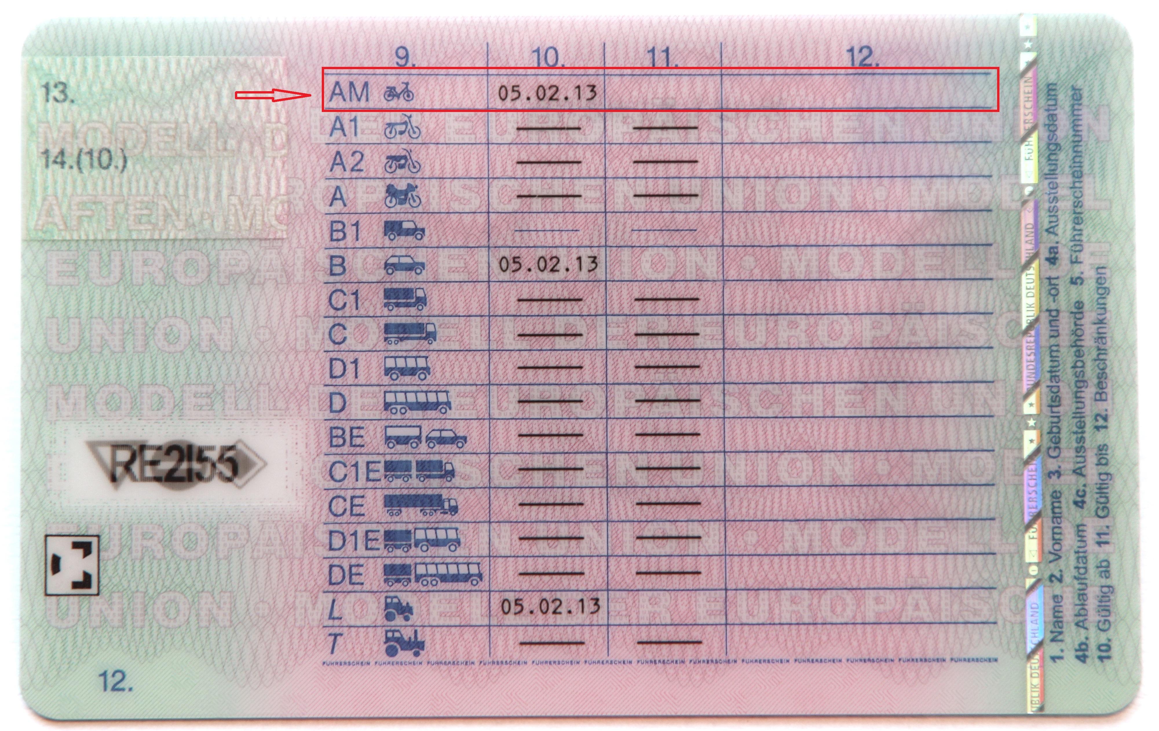 Führerschein mit dem Eintrag AM