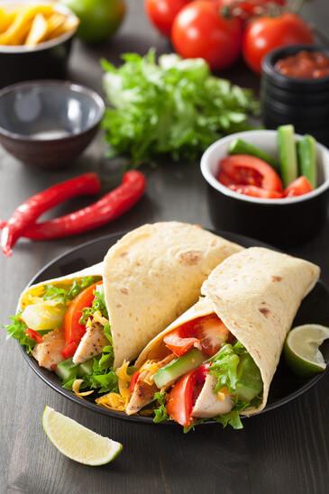 kalorienarmer und gesunder chicken wrap. perfektes Rezept zum selber machen