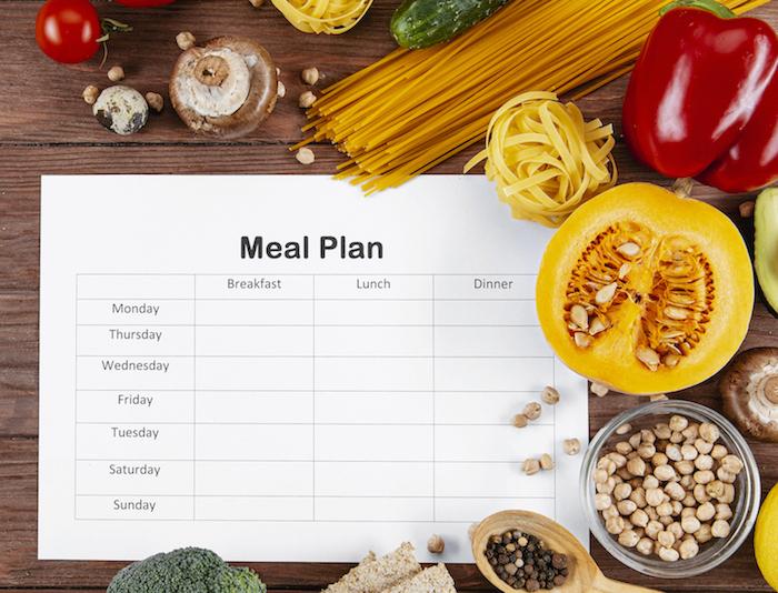 Meal Plan mit frischen Lebensmitteln auf Holztisch als Ernährungsplan