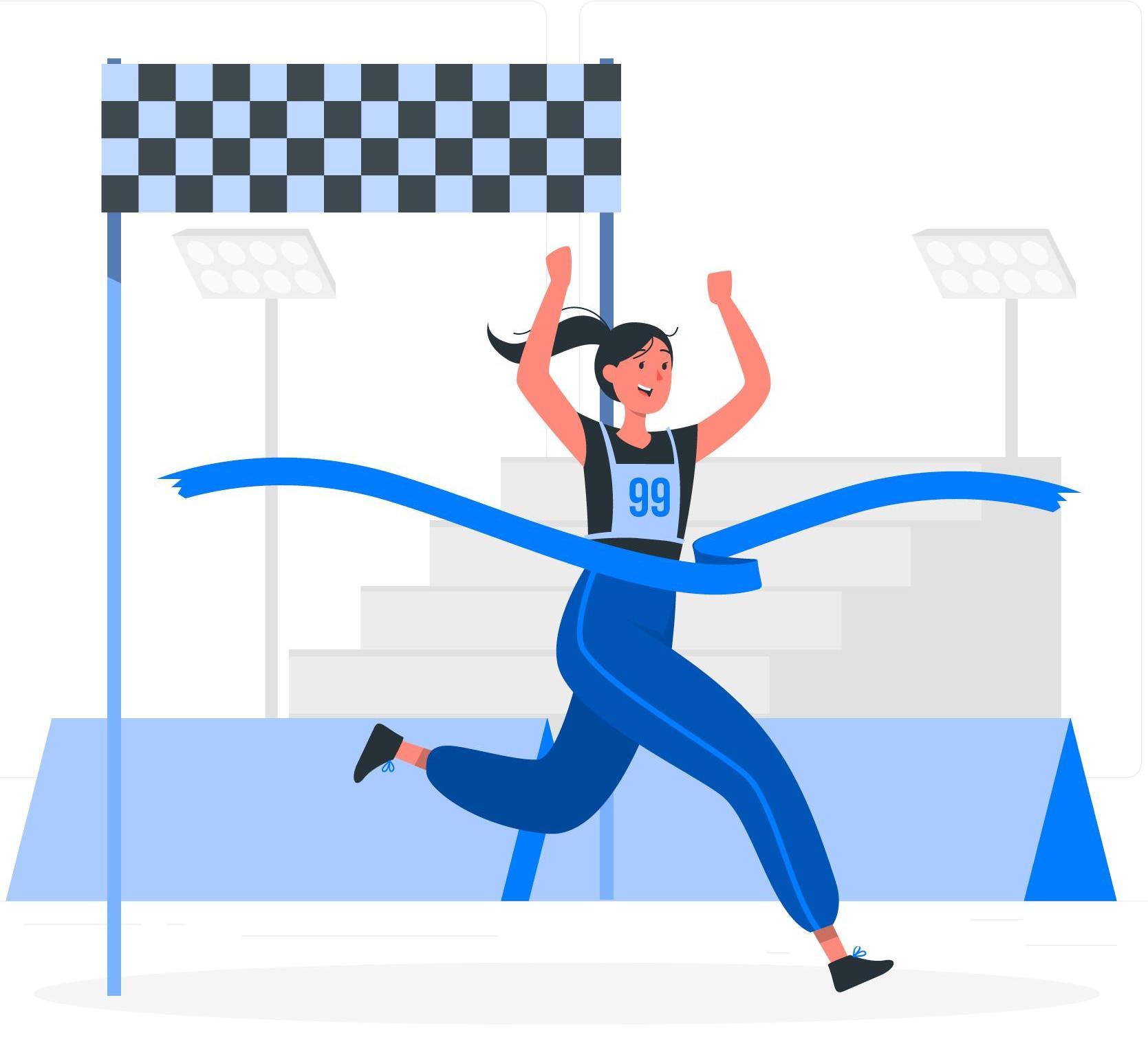 Illustration von Frau die dich Zielgerade rennt und erreicht ihre Ziele durch gute Planung