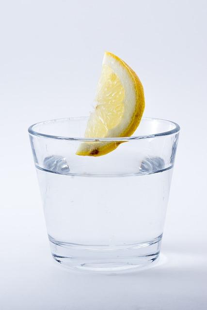 Ein Glas Wasser mit Zitrone
