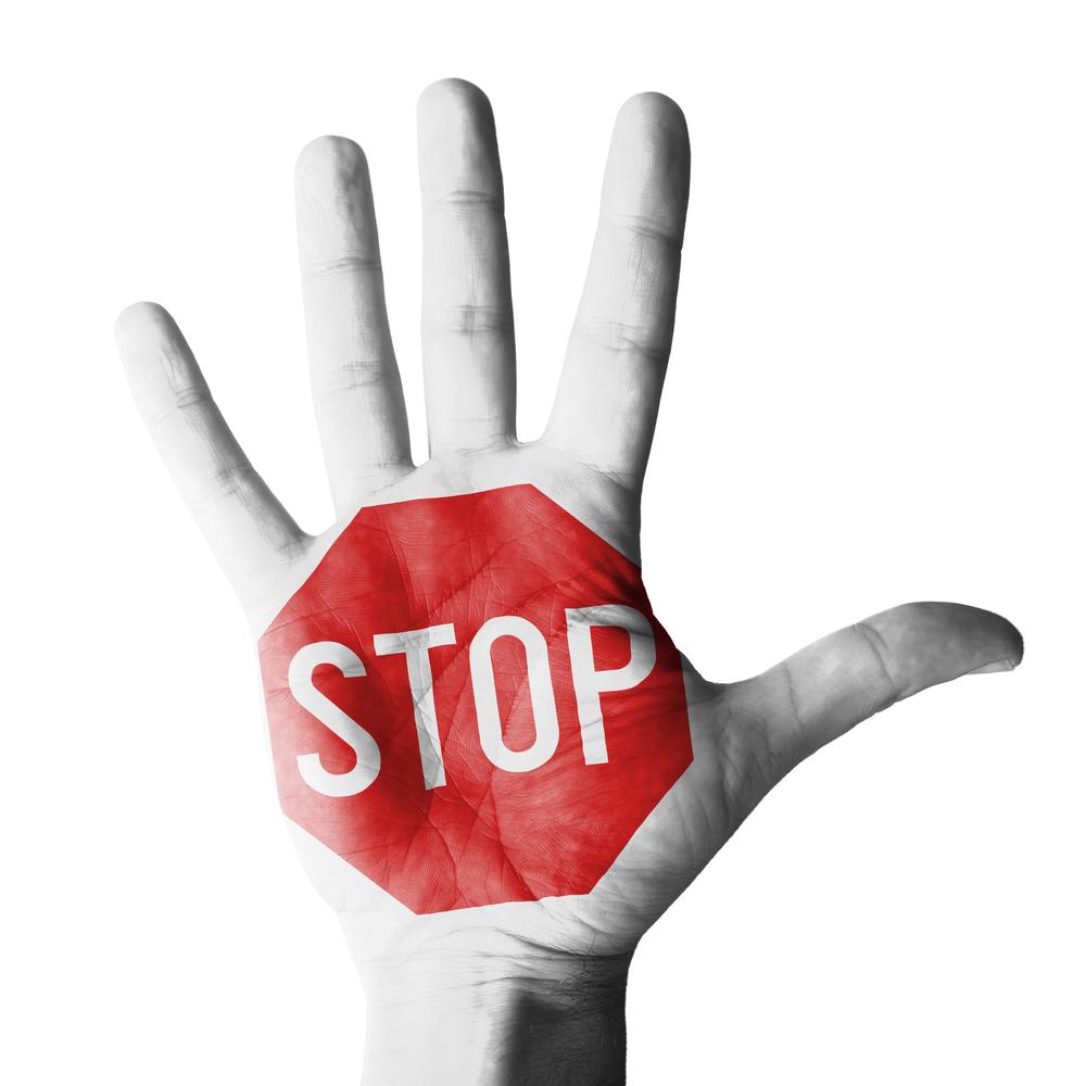 Handfläche steht Stop