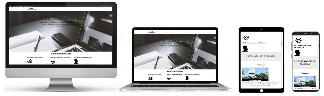 Responsive Design anhand von einem Imac, Laptop, Smartphone und Tablet