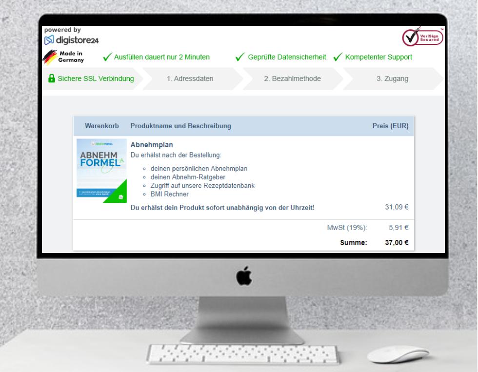 Bestellformular Digistore24 für den Abnehmplan